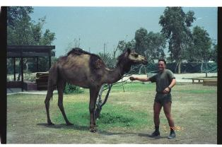 Joe Pool with a camel